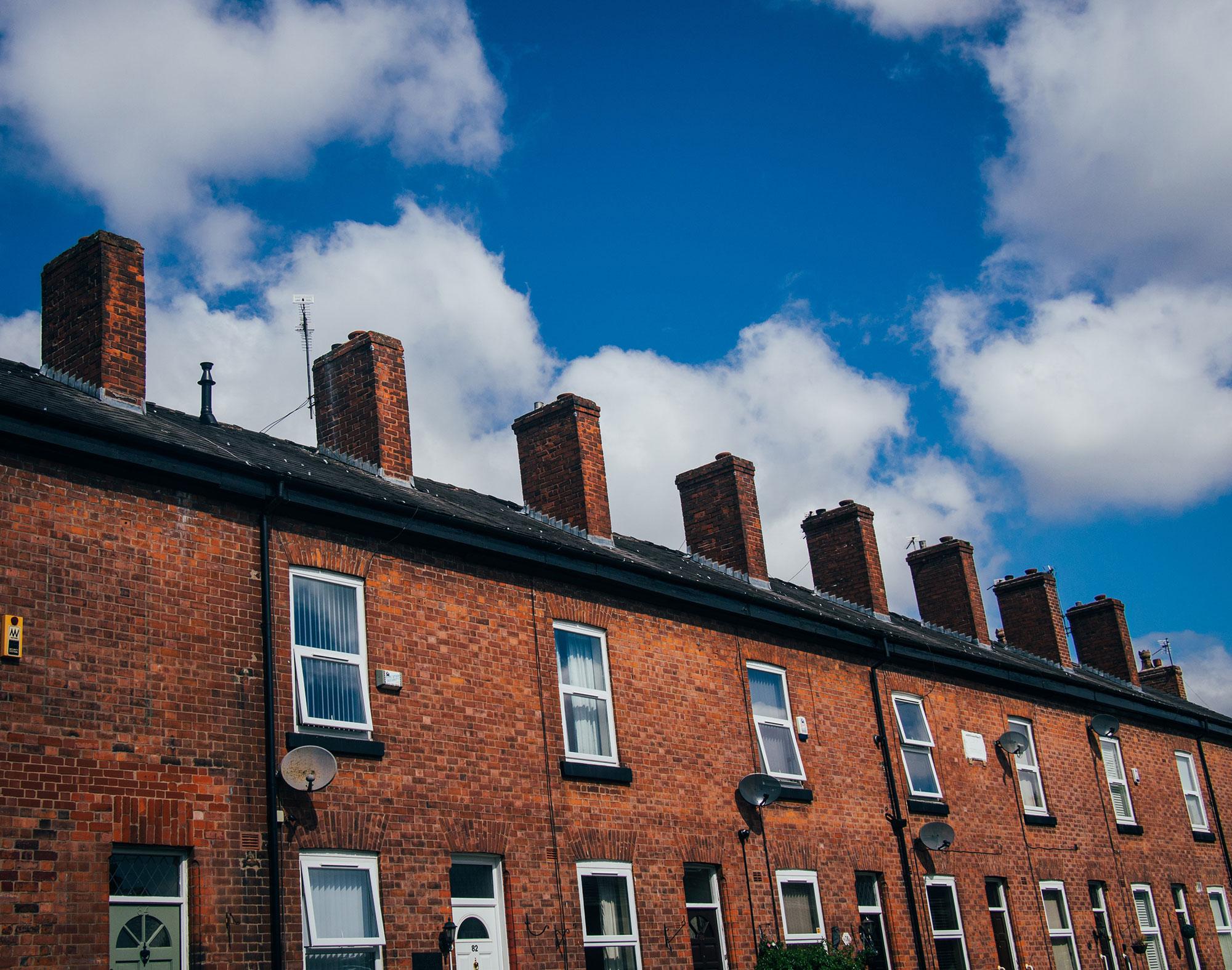 Terraced hoses with blue sky